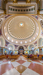Interior of the Famous Mosta Dome (Zoltan Gabor) Tags: church beautiful interior famous malta panoramic dome mosta