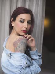 Amanda Witchcraft (elparison) Tags: window face breast tits bra persone wait tatoo downblouse