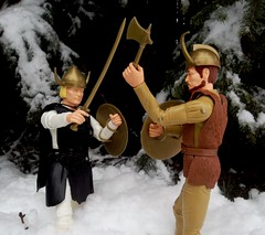 Erik & Gregor in Viking Combat (atjoe1972) Tags: snow classic forest vintage toys actionfigure battle retro knights sword axe marx brave erik 1960s 1970s custom viking seventies sixties gregor norsemen 12inch norse kitbash johnnywest magicdonkey 16scale atjoe1972