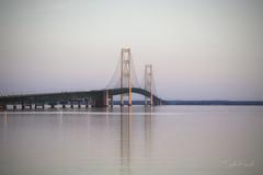 The Mackinac Bridge (Stella_Kar) Tags: lake reflections evening michigan roadtrip destination upnorth upperpeninsula mackinacbridge calmwater northernmichigan pastelcolors mightymac