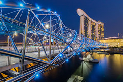 Helix Bridge to Marina Bay Sands (BP Chua) Tags: travel bridge blue tourism water river lights evening singapore helix bluehour mbs marinabay marinabaysands marinabaysingapore