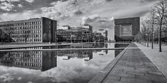 thyssenkrupp quartier III (>>nicole>>) Tags: sky tree monochrome architecture clouds essen wasser pavement himmel wolken architektur monochrom baum weg thyssenkruppquartier