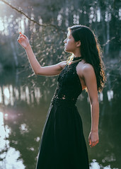 Faun (barleyphoto) Tags: light portrait sun mist lake girl fauna forest portraits model woods flora nikon natural horns fawn available faun sunflare wutheringheights creativeportrait d810 creativeportraits