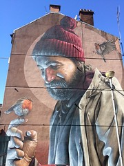 Man with robin mural by SMUG (markshephard800) Tags: city urban man art robin wall scotland mural glasgow smug tenement