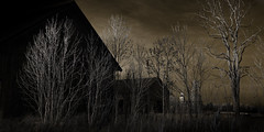 Church in Time (c e d e r) Tags: church car barn ode time headlights concept ceder dungen mortician darklyseries