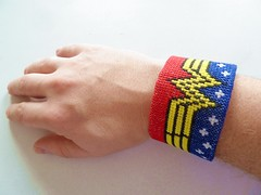 62 - Wonderwoman bracelet 02 (Benhy Bradshaw Costello) Tags: crossstitch handmade embroidery wonderwoman superhero bracelet dccomics aida mycraft