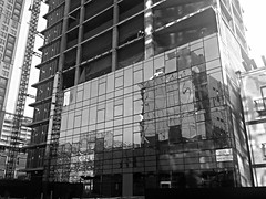 High Line Building Curtain Wall Construction (corchplow) Tags: newyorkcity newyork reflection window glass mirror unitedstates steel beam worker build