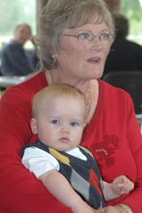 DSC_0171 Sandra Hunter and her grandson Cameron Family Reunion Scawby Village Hall Oct 2005 (photographer695) Tags: 2005 family reunion hall village sandra oct her grandson cameron hunter spafford patchett scawby