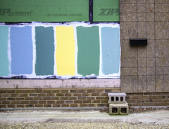 Colorful Facade - Lewes, Delaware (crabsandbeer (Kevin Moore)) Tags: christmas urban composition facade mailbox construction colorful paint geometry decay easternshore delaware cinderblock smalltown lewes swatches