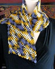 Bare Bones (vashtirama) Tags: crochet variegated filet multicolor freeform handdyedyarn selfstriping handpaintyarn crochetclass shortstriping barebonesscarf stitchgames