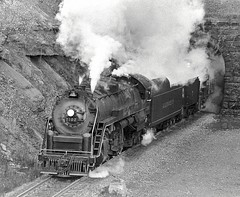 Ex-RDG 4-8-4 2102 exits the western portal of Allegheny Tunnel, Gallitzan, Pennsylvania, 1977 (Ivan S. Abrams) Tags: blackandwhite newcastle pittsburgh butler bo ge prr ble conrail alco milw emd ple 2102 chessiesystem westmorelandcounty 4070 bessemerandlakeerie steamtours pittsburghandlakeerie ivansabrams eidenau steamlocomtives prrbopennsylvaniarailroadbaltimoreandohiobessemerandlakeerieblemontourpittsburghuniversityofpittsburghrdgreadingcompany4842102210021014070gtwgrandtrunkwesternyoughioghenyrivermckeesport pennslvaniamckeesrocks pennsylvaniaurrunionrailroad ustrainsfromthe1960sand1970s