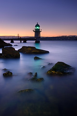 Bradleys Light (Rodney Campbell) Tags: longexposure water sunrise au australia newsouthwales cpl mosman bradleyshead gnd09