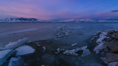 Cracked View (Adam's Attempt (at a good photo)) Tags: lake snow cold color ice rock clouds sunrise frozen utah nikon rocks colorful cloudy wideangle crack tokina lakemountain utahlake lookingwest 16x9 utahcounty iceformations utahsnow colorfulsunrise pressurecrack 1116mm lr5 d7000 americanforkboatharbor utahlakesunrise iceatutahlake crackedview westwardsunrise