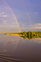 Rainbow River (onurbwa51) Tags: trees sky reflection reed water rain clouds forest doublerainbow spiegelung regen schilf reddot rivercruise rotemarkierung