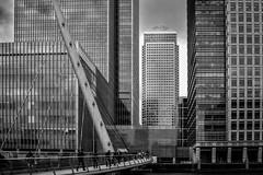 Lines & Shapes (Yannis_K) Tags: bridge blackandwhite london monochrome lines architecture modern skyscraper cityscape shapes canarywharf onecanadasquare architecturalelements nikond3100 yannisk