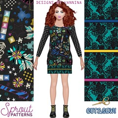RocknChic_outfit_Sprout (vannina_sf) Tags: music black fashion rock skull star design diy pattern guitar lace sewing stripes skirt fabric mockup chic tee rockandroll spoonflower sproutpatterns