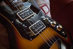 Vintage Teisco Bass Guitar (ambivalence_uk) Tags: music brown vintage bass strings bassguitar tobaccosunburst pickups teisco bridgecover