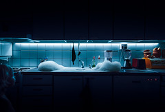 Meanwhile in the kitchen... (Toni Ahvenainen) Tags: longexposure water kitchen night zeiss dark child accident foam dishwasher aura bluelight overflow mediumaperture touit2812