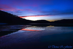 Winter Sundown (travelphotographer2003) Tags: blue winter sunset lake ice nature landscape radiance westvirginia serenity freshness afterglow refreshment appalachianmountains purity tranquilscene cowen outdoorrecreation beautyinnature webstercounty bigditchlake solitudealleghenymountains