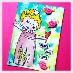 ATC Peace and love (Stampinkie) Tags: stencils atc artisttradingcard handmade rubberstamping distressink stampotique