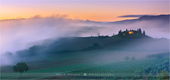 Sunrise Podere Belvedere - Tuscany - Italy (~ Floydian ~ ) Tags: morning trees italy house mist building tree fog sunrise canon landscape photography dawn valley tuscany cypress pienza morningglory valdorcia firstlight sanquirico floydian leefilters canoneos1dsmarkiii henkmeijer poderebelvedere