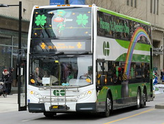 Green means GO (Sean_Marshall) Tags: toronto bus parade yongestreet stpatricksday gotransit