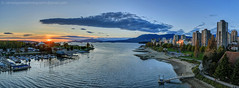 Burrard Inlet at Sunset (james c. (vancouver bc)) Tags: ocean park city morning winter sunset sea sky urban panorama cloud sunlight mountain canada color colour reflection building tower tourism beach water skyline vancouver skyscraper marina landscape bay coast boat spring downtown ship apartment path britishcolumbia lawn scenic wideangle landmark panoramic canadian seawall highrise planetarium burrardinlet citycentre attraction vanierpark vancouvermuseum