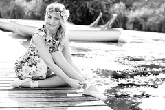 Ballerina (PIXXELGAMES - Robert Krenker) Tags: vienna wien bridge flowers summer portrait blackandwhite beach water girl fashion nikon ballerina photoshoot dancing blossom leg makeup blond nikkor blacknwhite portret hairstyle ritratto leggy bestportraitsaoi