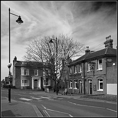 Railway Hotel, Faversham (Jason 87030) Tags: road uk greatbritain england sky white holiday man black building architecture bench square mono kent flickr noir crossing unitedkingdom tag border railway frame april alpha gent blanc faversham 2016 ilce sonya6000