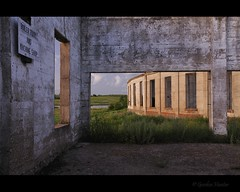 Roundhouse Twilight (Gordon Hunter) Tags: old railroad windows lake canada building shop train concrete dawn big twilight view room garage cement machine railway ab gordon repair alberta valley hunter prairies boiler roundhouse