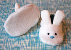 Bunny slippers baby booties for boys (Jennifer Ladd handmade) Tags: blue boy baby white cute rabbit bunny easter shoes sewing craft gift fleece booties paleblue bunnyslippers babyblue babygift cribshoes jenniferladd