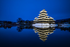 | Matsumoto Castle (dawvon) Tags: longexposure bridge winter sunset nature water japan architecture night reflections dark season japanese twilight asia nightshot dusk keep bluehour moat matsumoto nagano magichour goldenhour historicalbuilding naganoprefecture honshu halflight naganoken  matsumotocastle crowcastle     chbu matsumotoshi karasujo hirajiro flatlandcastle chburegion