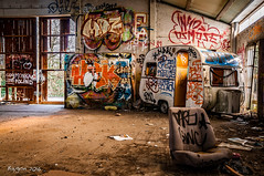 Just 100 miles from the beach (ericbaygon) Tags: camping urban abandoned graffiti nikon paint decay seat tag dessin peinture caravan sige dx urbain caravane abandonn doel nikonpassion d300s