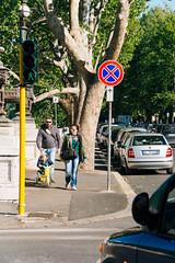 Tunring (lorenzoviolone) Tags: family trees italy roma car sign parents trafficlight reflex kid spring nikon tricycle streetphotography vehicles streetphoto dslr lazio fujiastia100f vsco d5200 nikkor18105mm nikond5200 vscofilm streetphotocolor walk:rome=april2016