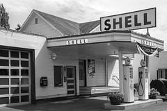 Vintage Shell Station Issaquah WA BW (Don Thoreby) Tags: usa vintage memories pacificnorthwest storefronts olddays yesteryear earlydays seattlewashington shellgasstation