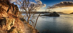 Silver Path evening (OutdoorMonkey) Tags: sunset sea panorama cloud evening coast scotland seaside track hiking path walk bluesky panoramic hike route coastal coastline seashore moidart castletioram lochmoidart silverpath