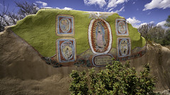 Religious Wall Art in Santa Cruz (LDMcCleary) Tags: santacruz newmexico art wall painting mexico religious sony voigtlander 15mm virginofguadalupe espanola heliar a7r2 neustrasenoradeguadalupe