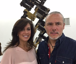 Artist Cristina Chacon with husband and retauranteur Diego Uribe, at Botero's opening