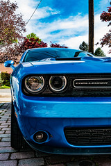 Dodge Challenger (abysal_guardian) Tags: blue car muscle panasonic american dodge hemi v8 challenger 57l mirrorless lx100 micro43