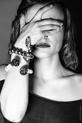 0162bn (Sergio Bus) Tags: light portrait bw woman fashion dark studio monocromo donna model eyes hands nikon hand skin lips bn occhi ritratto pelle biancoenero jewerly d800 gioielli labbra modella nikond800 sergiobus