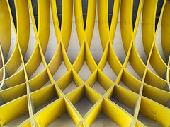 Mini architecture (Lukinator) Tags: above white building yellow metal architecture screw angle bend shaped perspective mini banana gelb finepix architektur winkel fujifilm form curve simple metall weiss narrow oben gebude perspektive kurve gerade schrauben hs20 schmal simpel biegung grell garishly wlben bananenfrmig