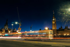 Entering Warp Speed (Derrick.Midwinter) Tags: longexposure ontario canada bus night publictransit ottawa parliament lighttrails parliamenthill