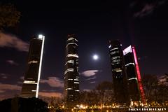 Cuatro Torres con la Luna (TALOS300) Tags: madrid city longexposure night nikon nocturna largaexposicin estelas d810 tamron2470 cuatrotorres nikond810