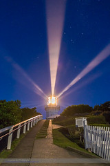 Lighthouse Beams by the Southern Cross (Amazing Sky Photography) Tags: twilight nightscape australia southerncross nsw beams crux pointers smokycapelighthouse trialbay