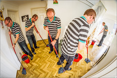 Mopping Man (mikeyp2000) Tags: hall twins fisheye cleaning clones clone mop mopping selfie
