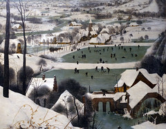 Bruegel the Elder, Hunters in the Snow (Winter), detail with frozen ponds