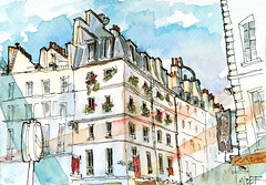 Paris, rue Sainte Anne depuis la boulangerie Aki. Paris's street close to the Opera. (velt.mathieu) Tags: paris building croquis urbansketchers