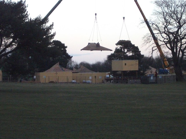 Rooves being lifted into place