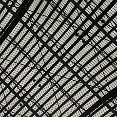 St Pncrs (No Great Hurry) Tags: old roof abstract building london texture geometric glass lines station architecture iron pattern eurostar geometry steel structure diagonal ironwork minimalism stpancras ngh steelwork robinbarr nogreathurry robinmauricebarr architrectureontheslant