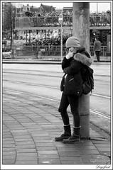 Waiting for her boyfriend? (Digifred. Thx for > 3 000 000 views.) Tags: street city blackandwhite holland netherlands amsterdam blackwhite iamsterdam nederland streetphotography canals grachten straat 2015 digifred